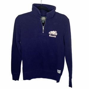 Roots navy blue quarter zip pullover XS
